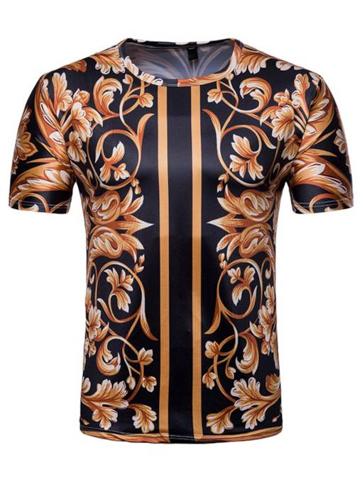 Floral Print Plain Slim Men's T-Shirt