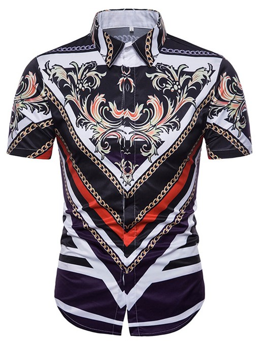 Lapel Ethnic Print Men's Short Sleeve Shirt