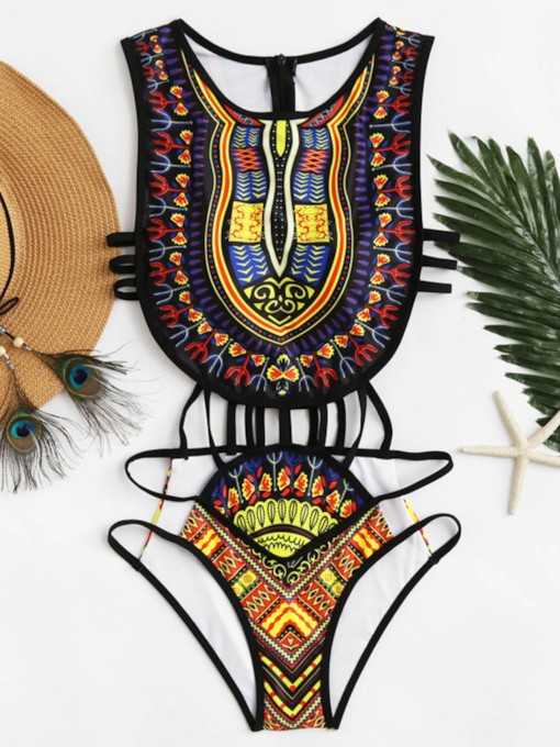 Zipper Dashiki Swimwear Hollow-Up Women's Monokini