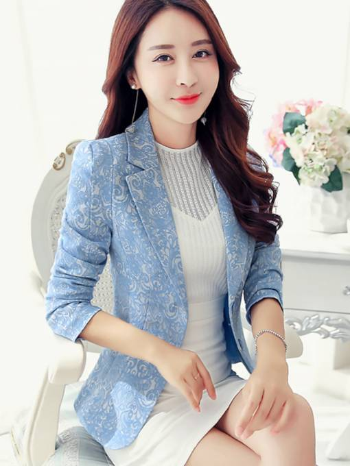 Floral Button Notched Lapel Women's Blazer