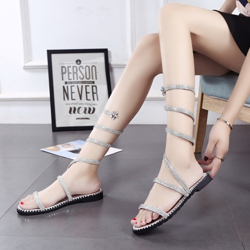Rhinestone Shoes high Shaft Silver Sandals for Women