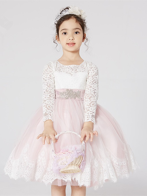 Lace Long Sleeve Beading Flower Girl Dress