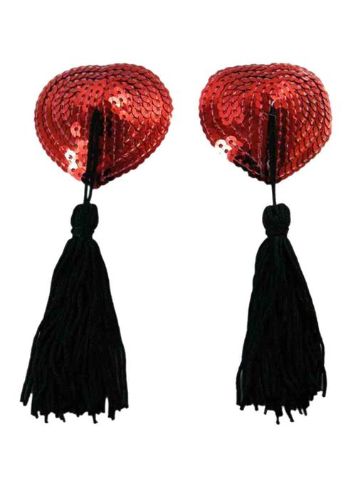 Red Sequins Tassels Nipple Covers