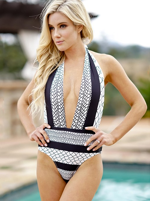 Halter Deep V Color Block One Piece Bathing Suits