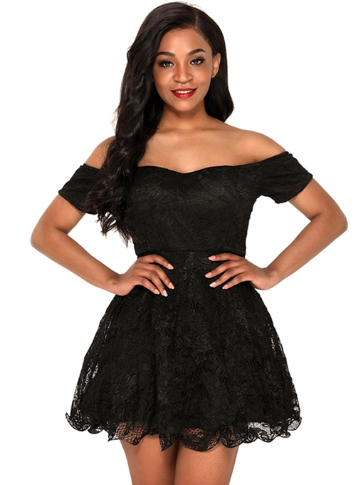 One Shoulder Lace A Line Women's Party Dress