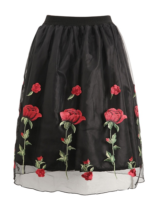 Ankle-Length Floral Embroidery A-Line Women's Skirt