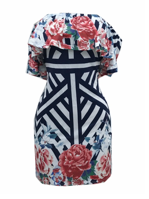 Off Shoulder Printing Women's Party Dress