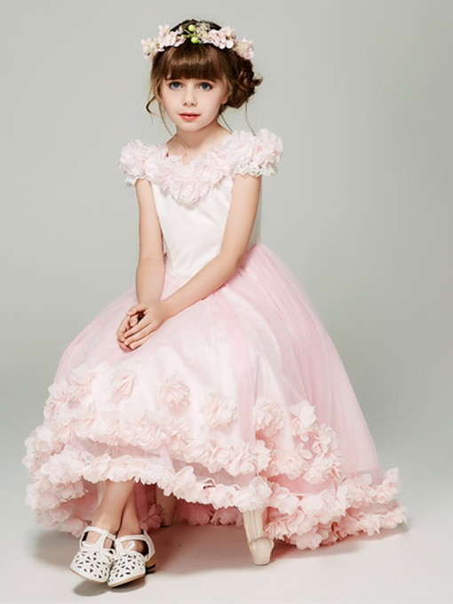 Cap Sleeve Flowers Girls Party Dress