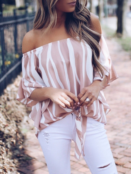Off Shoulder Stripe Standard Women's Blouse
