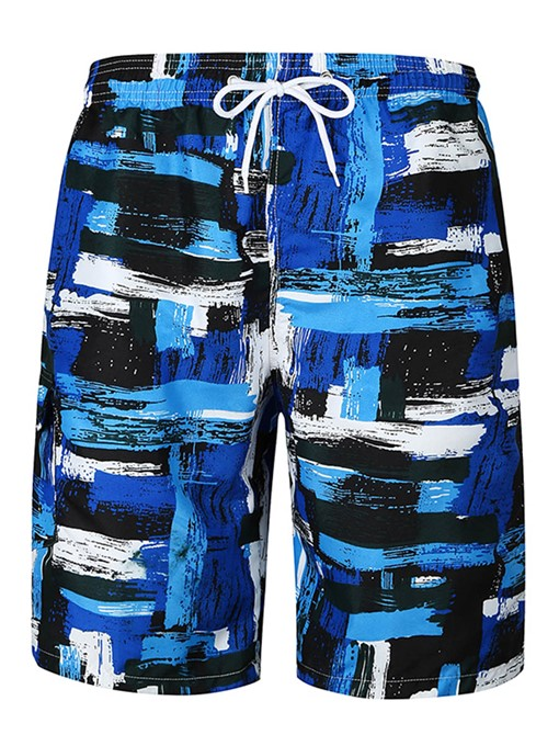 Lace-up Color Block Slim Men's Swim Shorts