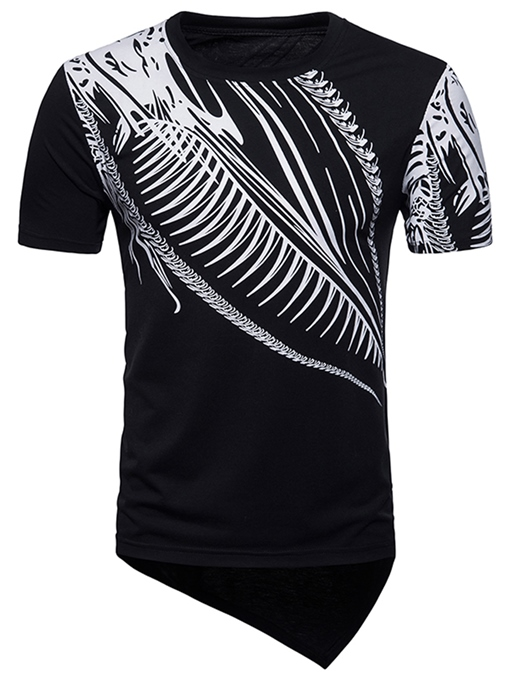 Irregular Print Slim Fit Men's T-Shirt