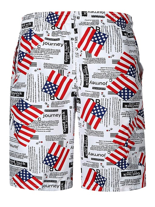 American Flag Print Slim Men's Swim Shorts