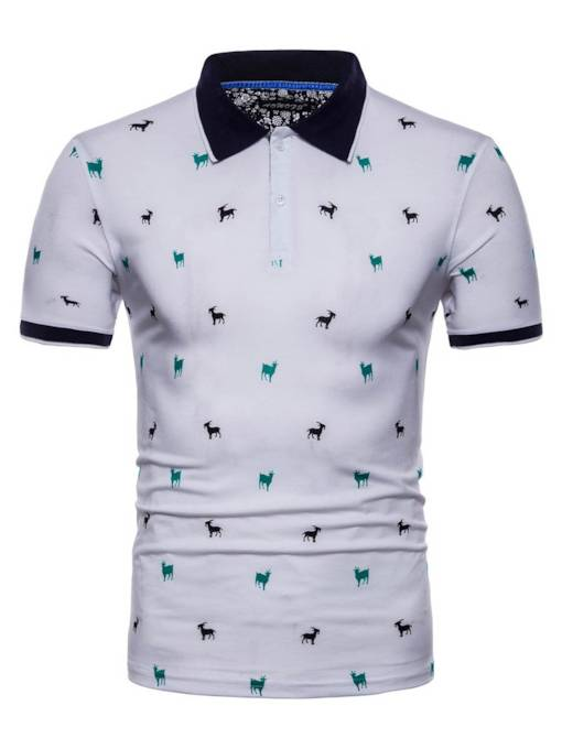 Lapel Print Slim Plain Men's Polo