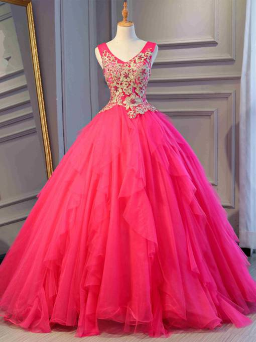 V-Neck Appliques Pearl Quinceanera Dress