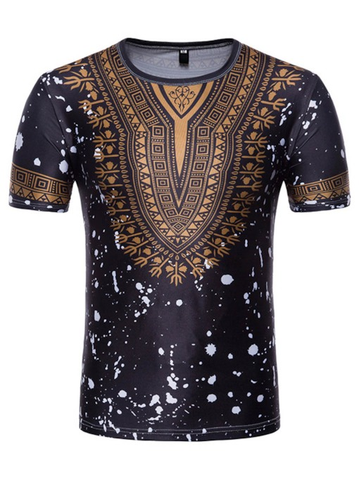 Round Collar Dashiki Slim Fit Men's T-Shirt