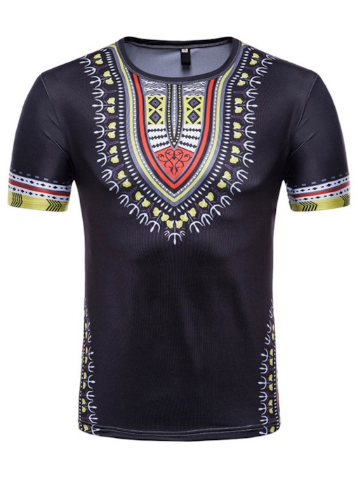 Round Collar Dashiki Print Men's T-Shirt