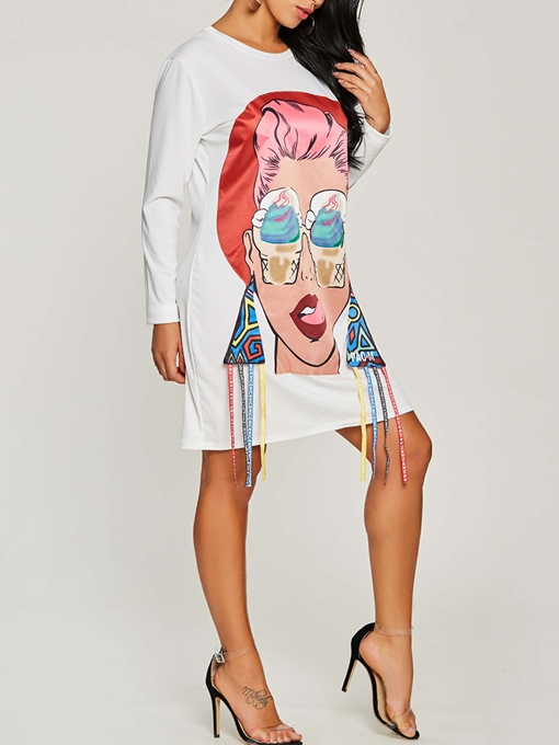 White Fun Print Shirt Women's Day Dress
