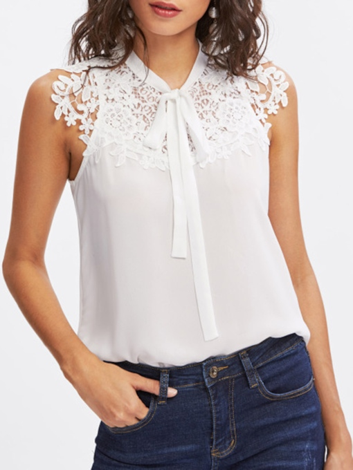 Lace Tie Neck Sleeveless Women's Blouse