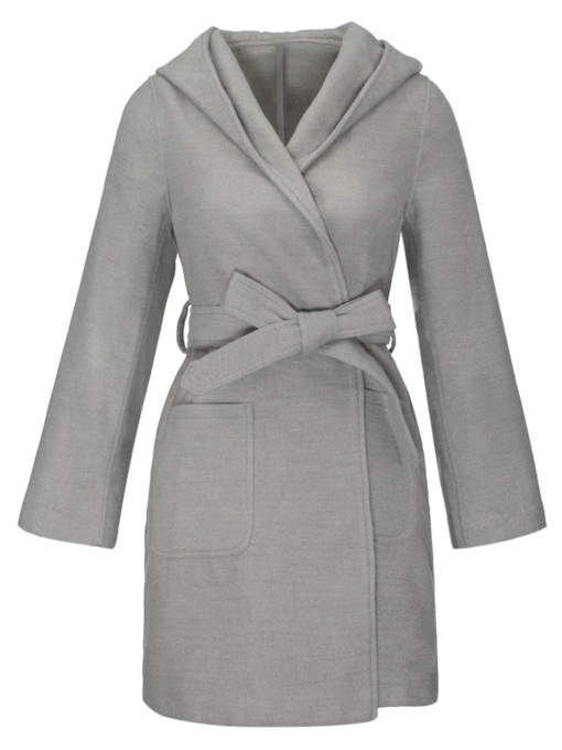 Solid Color Hooded Women's Overcoat