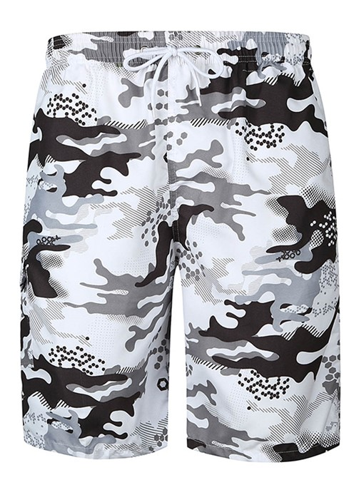 Lace-up Camouflage Slim Fit Men's Swim Shorts