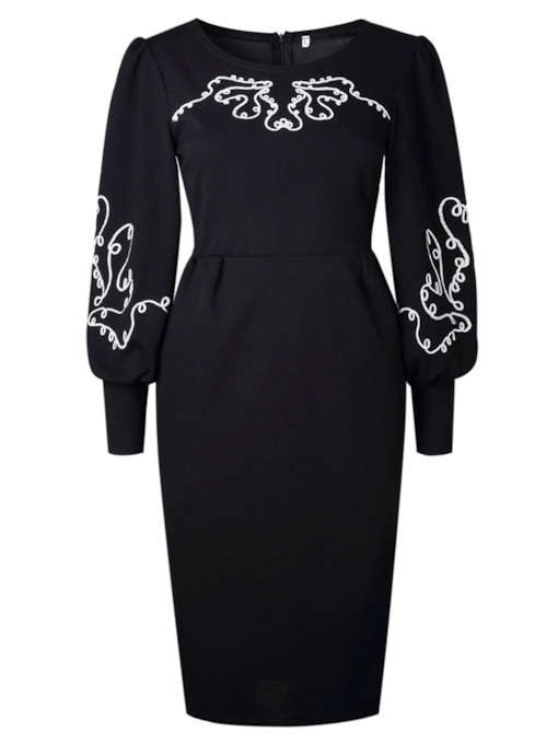 Black Printing Lantern Sleeve Women's Sheath Dress