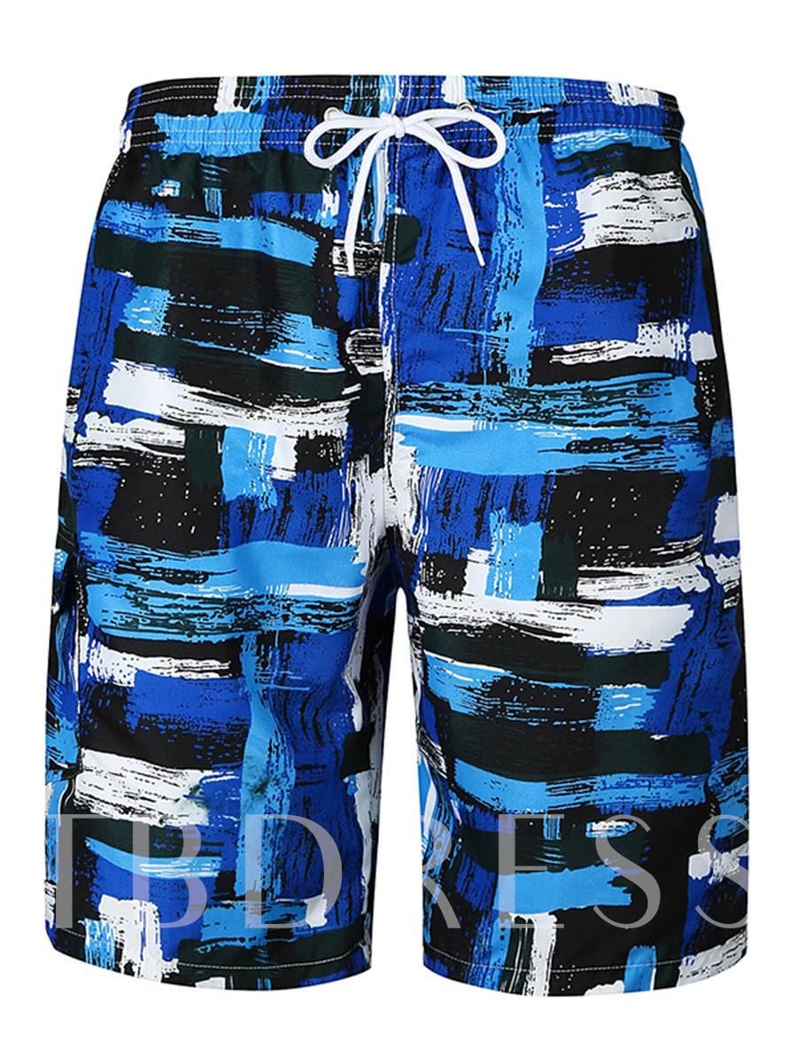 Image of Lace-up Color Block Slim Mens Swim Shorts