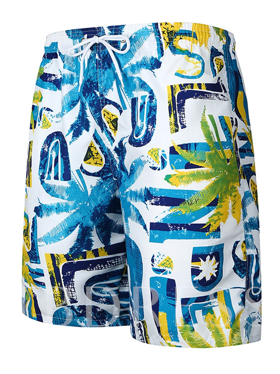 Image of Hawaii Style Print Slim Fit Mens Swim Shorts