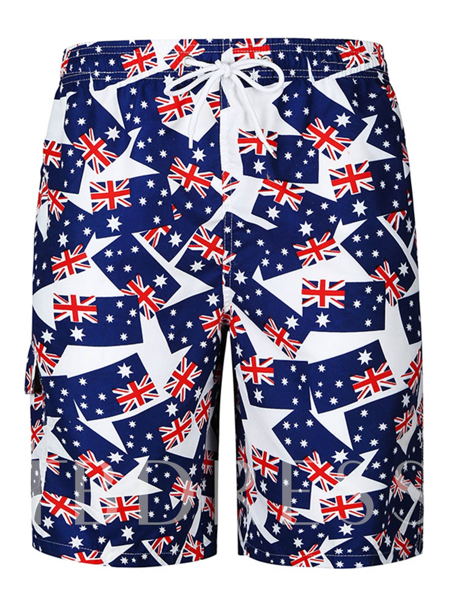 Image of Lace-up Flag Print Slim Mens Swim Shorts