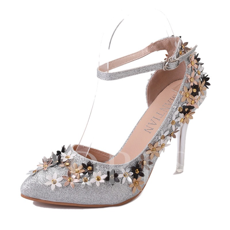 Line Buckle Appliques Flower Women's Prom Shoes