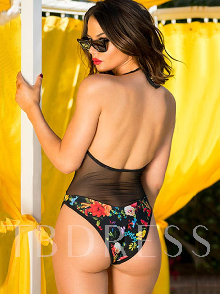 Floral Mesh See-Through Halter Black Sexy One Piece Bathing Suits
