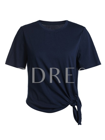 Simple Round Neck Lace-Up Women's T-Shirt