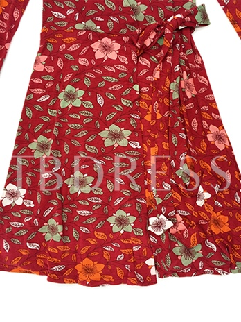 Red Printing Lace up Women's Day Dress