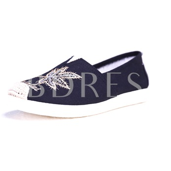 Embroidery Sequins Women's Cloth Flats Shoes