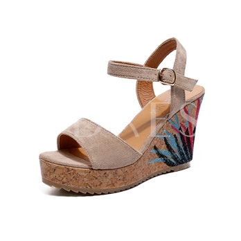 Printing Suede Buckle Wedge Heel Sandals for Women