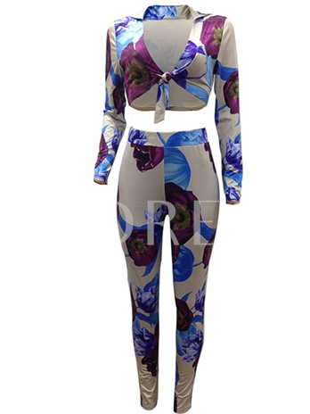 Printed Bowknot T-Shirt and Pants Women's Two Piece Set