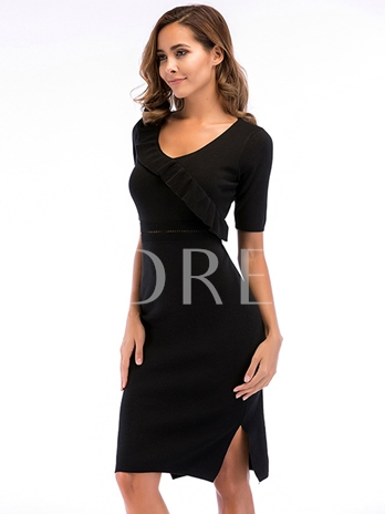 Black Short Sleeve Women's Pencil Dress
