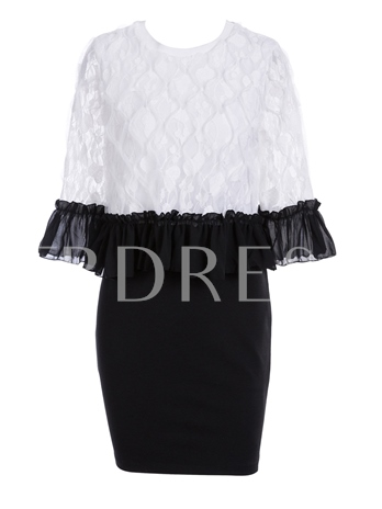Bell Sleeve Lace Patchwork Women's Bodycon Dress