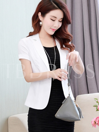 Short Sleeve One Button Solid Color Women's Blazer