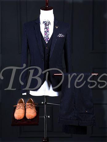 Notched Collar Stripe Printed One Button Slim Fit Men's Dress Suit