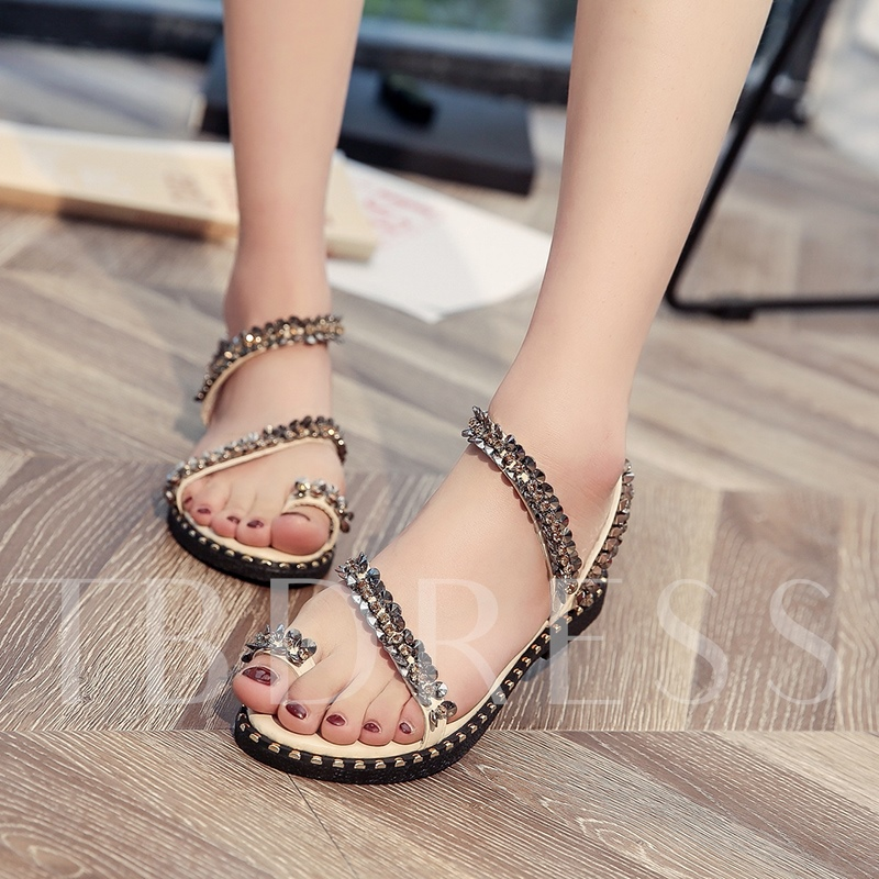 Slip On Toe Ring Shoes Beads Rhinestone Sandals for Women