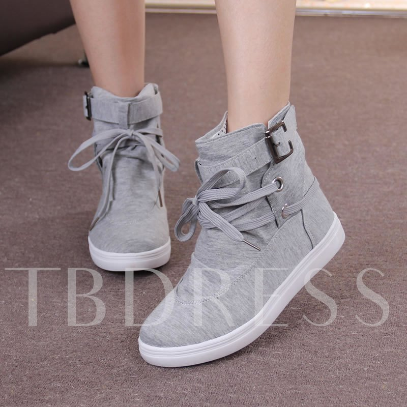 Solid Color Buckle Decorated Women's Canvas Shoes
