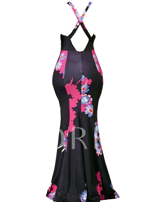 V Neck Sleeveless Open Back Women's Maxi Dress