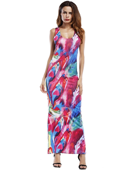 Printing Round Neck String Back Women's Maxi Dress