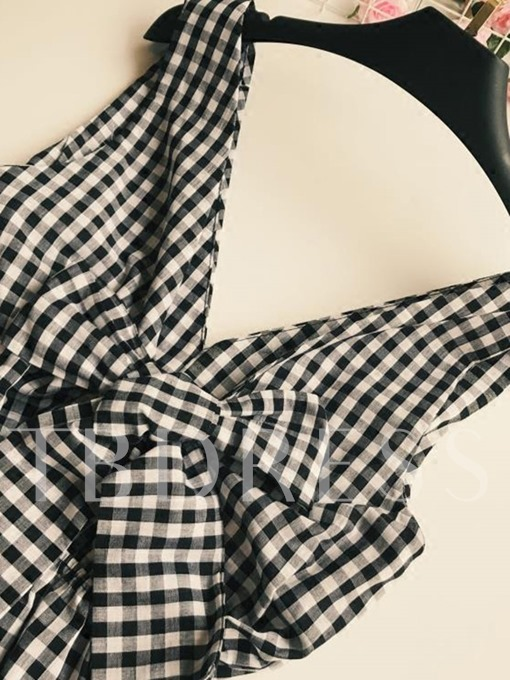 Black and White Plaid Deep V Women's Rompers