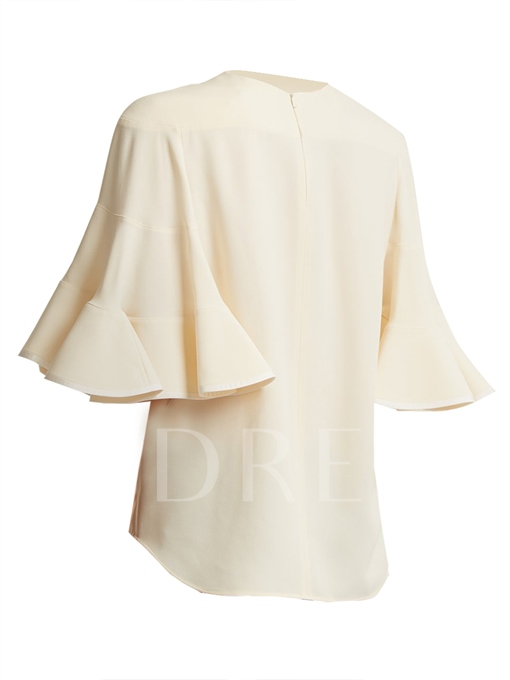 Plain Women's Ruffle Short Sleeve Solid Color Blouse