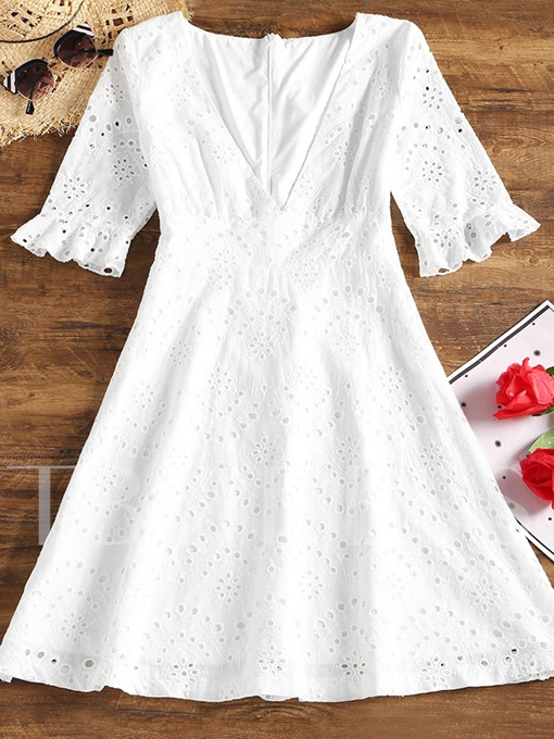 V Neck Short Sleeve Lace Women's Lace Dress