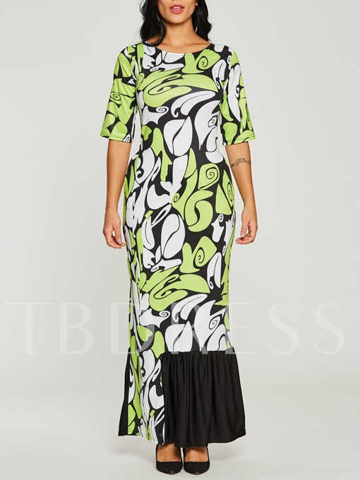 Half Sleeve Ruffle Hem Print Women's Maxi Dress