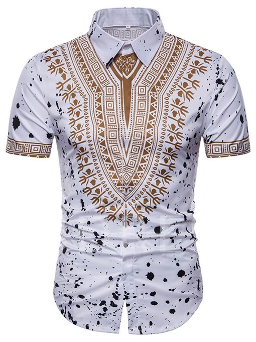 Dashiki Lapel Slim Fit Men's Short Sleeve Shirt
