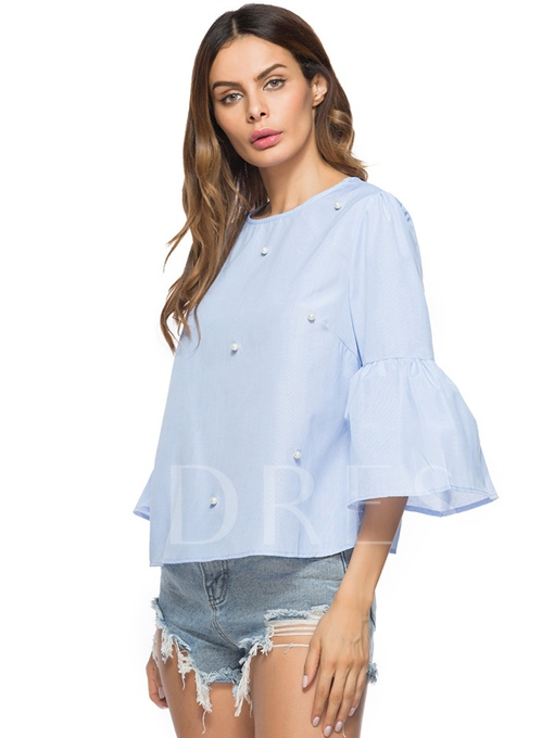 Plain Faux Pearl Falbala Women's Blouse