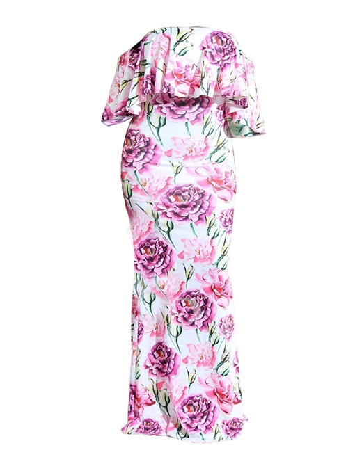 Off Shlouder High Waist Print Floral Women's Maxi Dress
